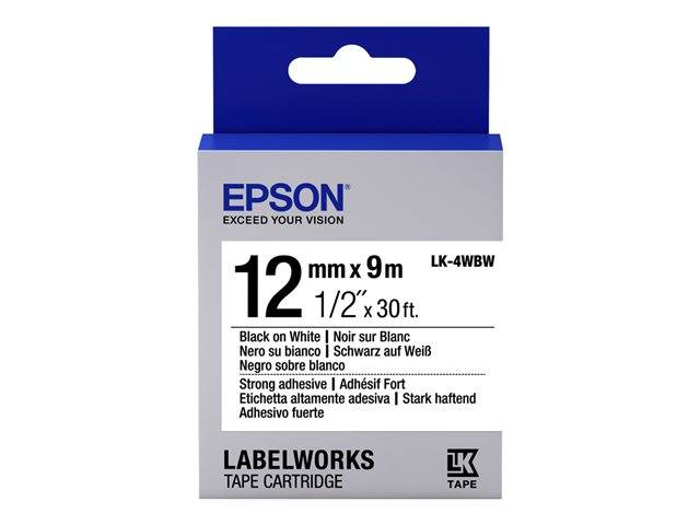 Epson LabelWorks LK-4WBW / Strong adhesive label tape / black on white /  Roll (1 2 cm x 9 m) 1 roll(s) / for LabelWorks LW-1000, LW-300, LW-400,