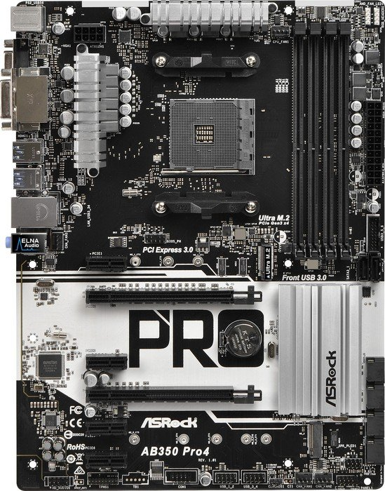 Asrock Ab350 Pro4 Motherboard Atx Socket Am4 Amd 90 Mxb510 A0uayz