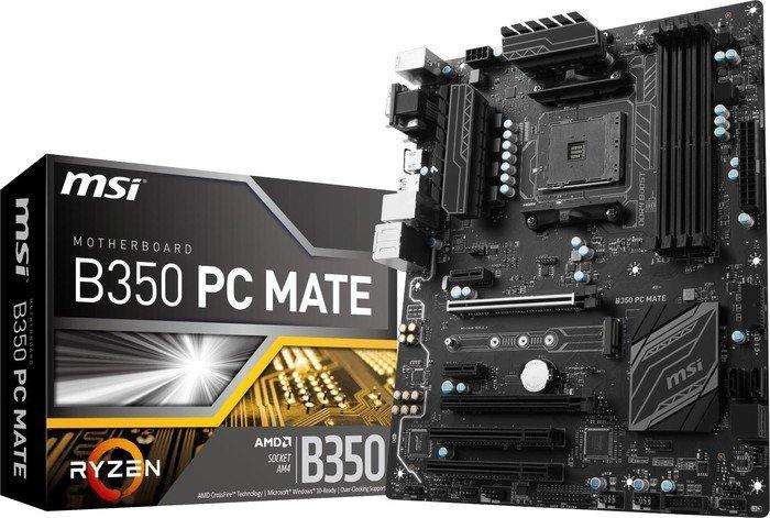 Msi B350 Pc Mate Motherboard Atx Socket Am4 Amd 7a36 003r