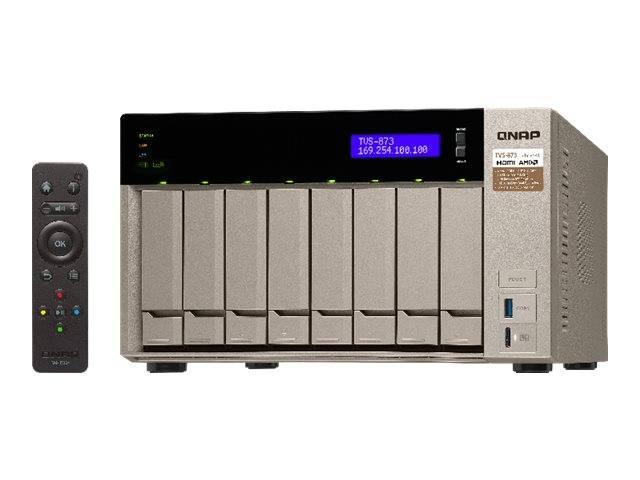 QNAP TVS-873 / NAS server / 8 bays / SATA 6Gb/s / RAID 0, 1, 5, 6, 10,  JBOD, 5 hot spare, 6 hot spare, 10 hot spare, 1 hot spare / RAM 16 GB /  Gigabit
